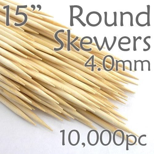 Extra Long Bamboo Round Skewer 15 Long 4.0mm dia. Case of  of 10,000