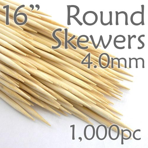 Extra Long Bamboo Round Skewer 16 Long 4.0mm dia. Box of 1000