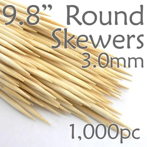Bamboo Round Skewer 9.8 Long 3.0mm dia. Box of 1000