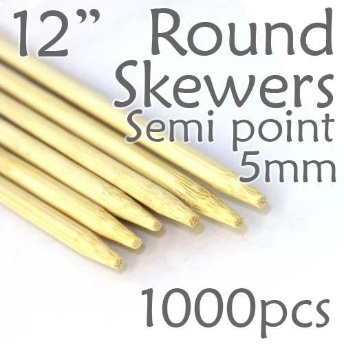 "Semi Point Corn Dog Round Skewer 12"" Long 5mm Dia. 1000 pcs"