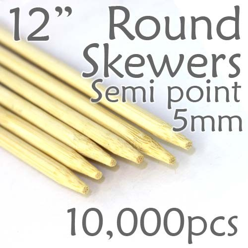 "Semi Point Corn Dog Round Skewer 12"" Long 5mm Dia. 10,000 pcs"