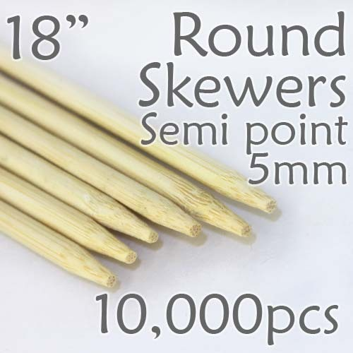 "Semi Point Extra Long Round Skewer 18"" Long 5.0mm dia. 10,000 pcs. for making Spiral Potatoes"
