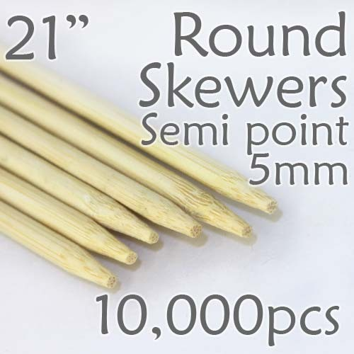 "Semi Point Extra Long Round Skewer 21"" Long 5.0mm dia. 10,000 pcs. for making Spiral Potatoes"
