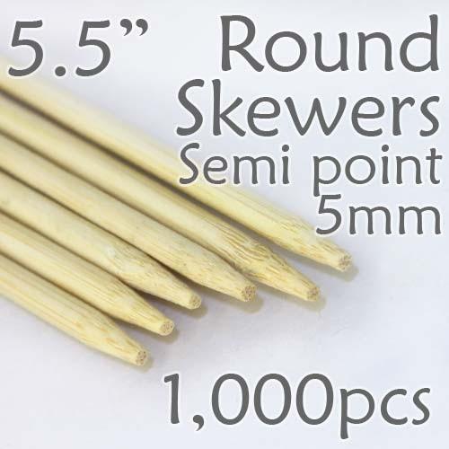 "Semi Point Corn Dog Round Skewer 5.5"" Long 5mm Dia. 1000 pcs"