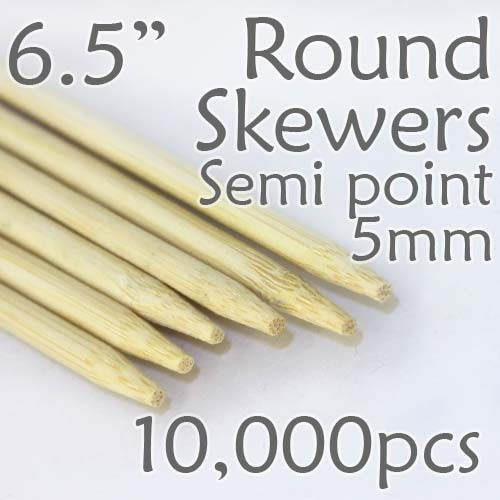 "Semi Point Corn Dog Round Skewer 6.5"" Long 5mm Dia. 10,000 pcs"