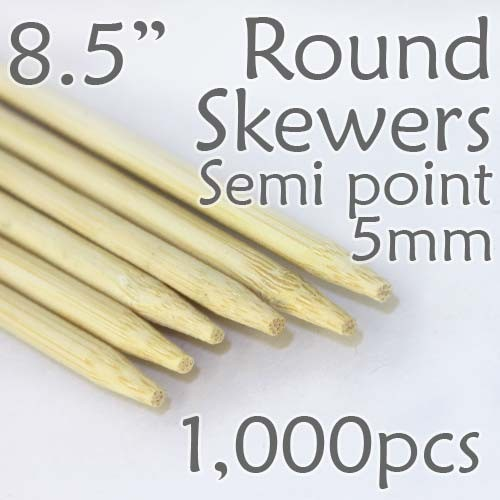 "Semi Point Corn Dog Round Skewer 8.5"" Long 5mm Dia. 1000 pcs"