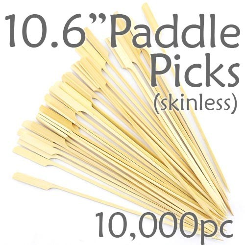 Bamboo Paddle Picks 10.6 - Skinless - case of 10,000 Pieces