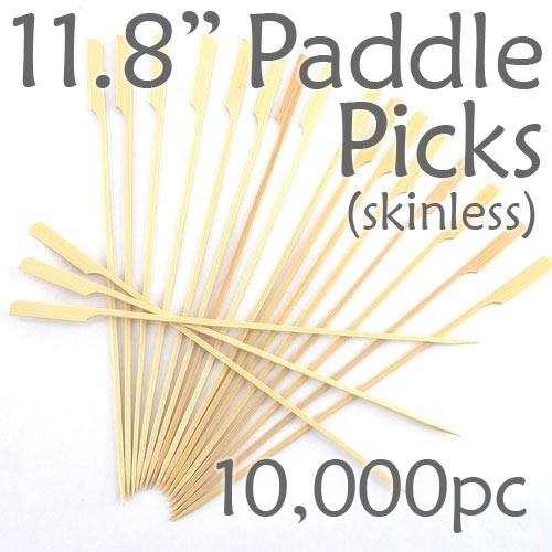 Bamboo Paddle Picks 11.8 - Skinless - case of 10,000 Pieces