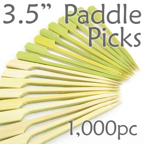Bamboo Paddle Picks 3.5 - Green - box of 1000 Pieces