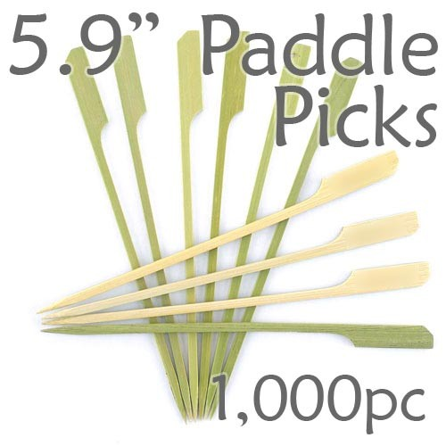 Bamboo Paddle Picks 5.9 - Green - box of 1000 Pieces