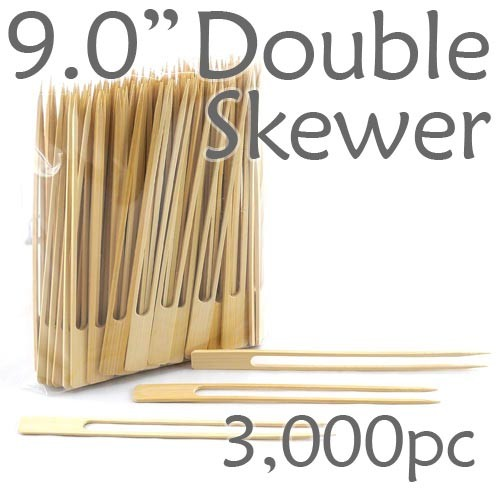 Double Prong 9.0 inch Twin Skewer - 3000pcs
