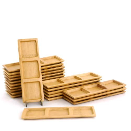 """Multicompartment Deep Square Small Solid Bamboo Dishes 2 3/8"""" x 7"""" Deep Square 100pc"""