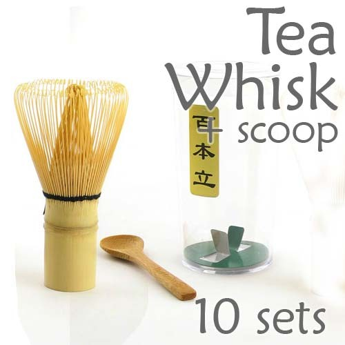 Tea Whisk and Scoop for Preparing Macha (Green Tea Chasen) - 10 Sets