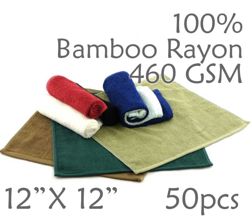 Super Soft Lightweight 100% Rayon from Bamboo Wash Cloth 460 GSM 50pc Choice of Color