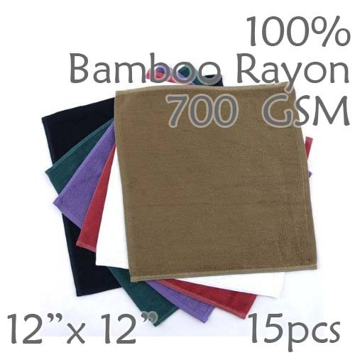 Super Soft Luxury Weight 100% Rayon from Bamboo Wash Cloth 700GSM 15pc Choice of Color