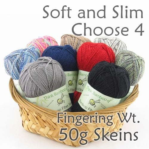 Mix and Match 4 Skeins- Soft and Slim Bamboo Yarn - Fingering Wt - 4 x 50g