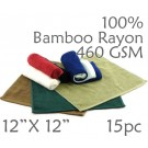 Super Soft Lightweight 100% Rayon from Bamboo Wash Cloth 460 GSM 15pc Choice of Color