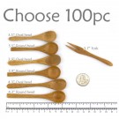 Small Solid Bamboo Forks or spoons - Pick and Choose 100pc