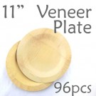 "Disposable Bamboo 11"" Veneer Plate- Round- 96pc"
