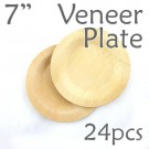 "Disposable Bamboo 7"" Veneer Plate- Round- 24pc"