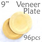 "Disposable Bamboo 9"" Veneer Plate- Round- 96pc"