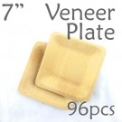 "Disposable Bamboo 7"" Veneer Plate- Square- 96pc"