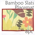 Bamboo Placemat - Red Floral Imprint - 8pc