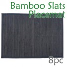 Bamboo Slats Placemat - Black - 8pc