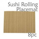 Bamboo Placemat / Sushi Rolling Style - Brown - 8pc