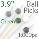 Ball Picks  3.9 Long - Green - Box of 1000 pc