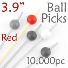 Ball Picks  3.9 Long - Red - Case of 10,000 pc