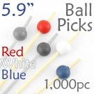 Ball Picks  5.9 Long - Red White and Blue - Box of 1000 pc