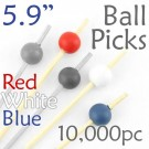 Ball Picks  5.9 Long - Red White and Blue - Case of 10,000 pc