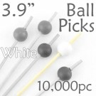 Ball Picks  3.9 Long - White - Case of 10,000 pc