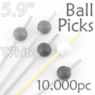 Ball Picks  5.9 Long - White - Case of 10,000 pc