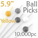 Ball Picks  5.9 Long - Yellow - Case of 10,000 pc