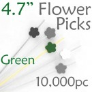 Flower Picks  4.7 Long - Green - Case of 10,000 pc