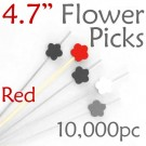 Flower Picks  4.7 Long - Red - Case of 10,000 pc