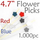 Flower Picks  4.7 Long - Red White and Blue - Box of 1000 pc
