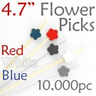 Flower Picks  4.7 Long - Red White and Blue - Case of 10,000 pc