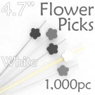 Flower Picks  4.7 Long - White - Box of 1000 pc