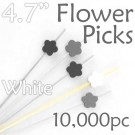 Flower Picks  4.7 Long - White - Case of 10,000 pc