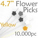 Flower Picks  4.7 Long - Yellow - Case of 10,000 pc
