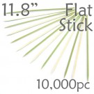 Bamboo Flat Stick Skewers 11.8 - Green - Case of 10,000 Pieces