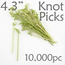 Bamboo Knot Picks 4.3 - Green - Case of 10,000 Pieces