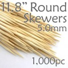 Bamboo Round Skewer 11.8 Long 5.0mm dia. Box of 1000