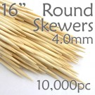 Extra Long Bamboo Round Skewer 16 Long 4.0mm dia. Case of  of 10,000