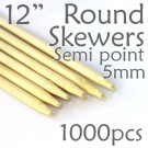 "Semi Point Corn Dog Round Skewer 12"" Long 5mm Dia. 1000 pcs"