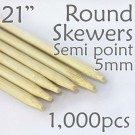 "Semi Point Extra Long Round Skewer 21"" Long 5.0mm dia. 1000 pcs. for making Spiral Potatoes"
