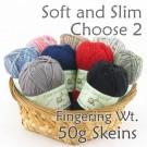 Soft and Slim Bamboo Yarn - Fingering Wt - 2 x 50g